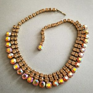 Gorgeous vintage rhinestone choker necklace orange